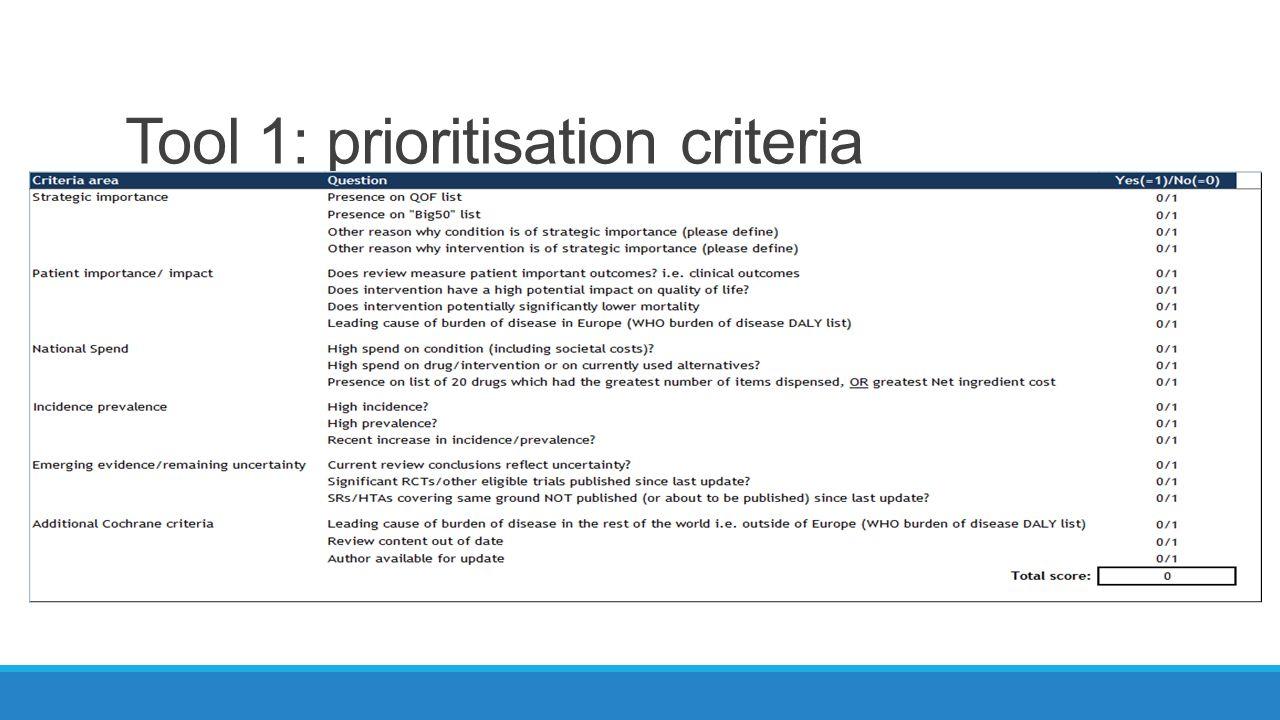 Tool 1: prioritisation criteria