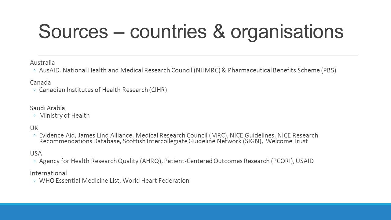 Sources – countries & organisations Australia ◦AusAID, National Health and Medical Research Council (NHMRC) & Pharmaceutical Benefits Scheme (PBS) Canada ◦Canadian Institutes of Health Research (CIHR) Saudi Arabia ◦Ministry of Health UK ◦Evidence Aid, James Lind Alliance, Medical Research Council (MRC), NICE Guidelines, NICE Research Recommendations Database, Scottish Intercollegiate Guideline Network (SIGN), Welcome Trust USA ◦Agency for Health Research Quality (AHRQ), Patient-Centered Outcomes Research (PCORI), USAID International ◦WHO Essential Medicine List, World Heart Federation