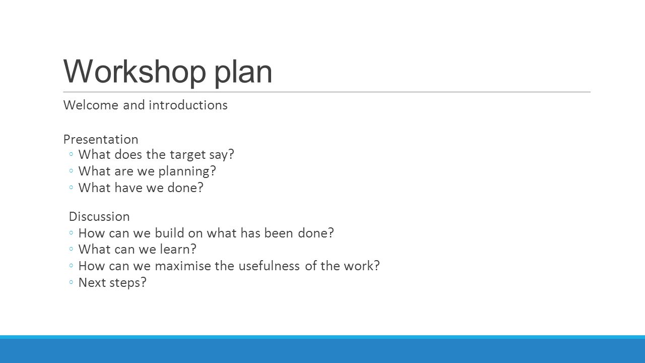 Workshop plan Welcome and introductions Presentation ◦What does the target say.