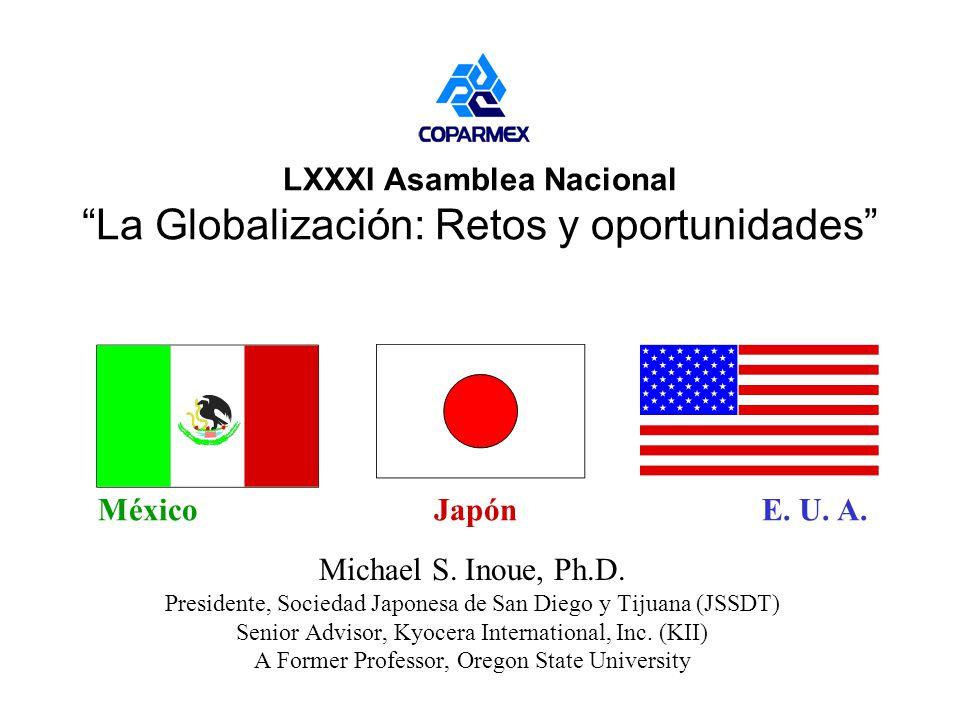 Objetivo #1 Identificar las oportunidades, los retos y las amenazas que la globalización plantea en particular a los empresarios (Kyocera Mexicana, SA de CV) y en general para el desarrollo de México (y Japón).