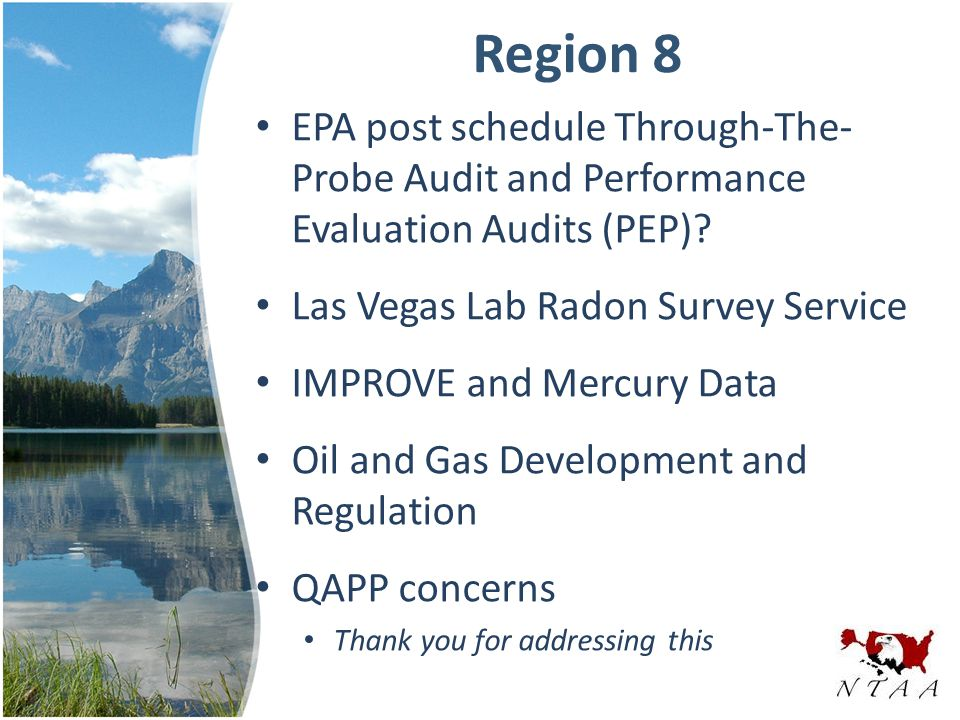 Region 8 EPA post schedule Through-The- Probe Audit and Performance Evaluation Audits (PEP).