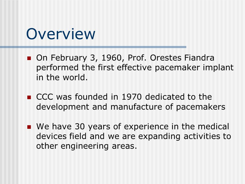 Overview On February 3, 1960, Prof.