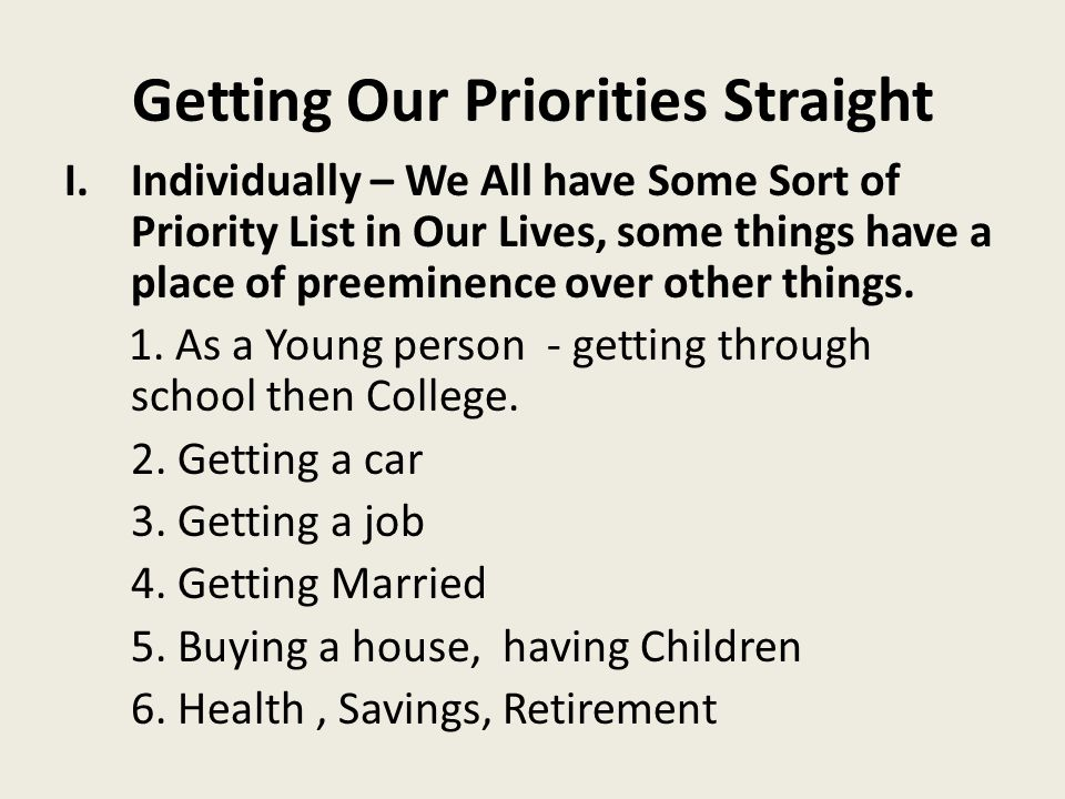 Getting Our Priorities Straight 2.What place (PRIORITY) does HE (Jesus) have in Your Daily Life.