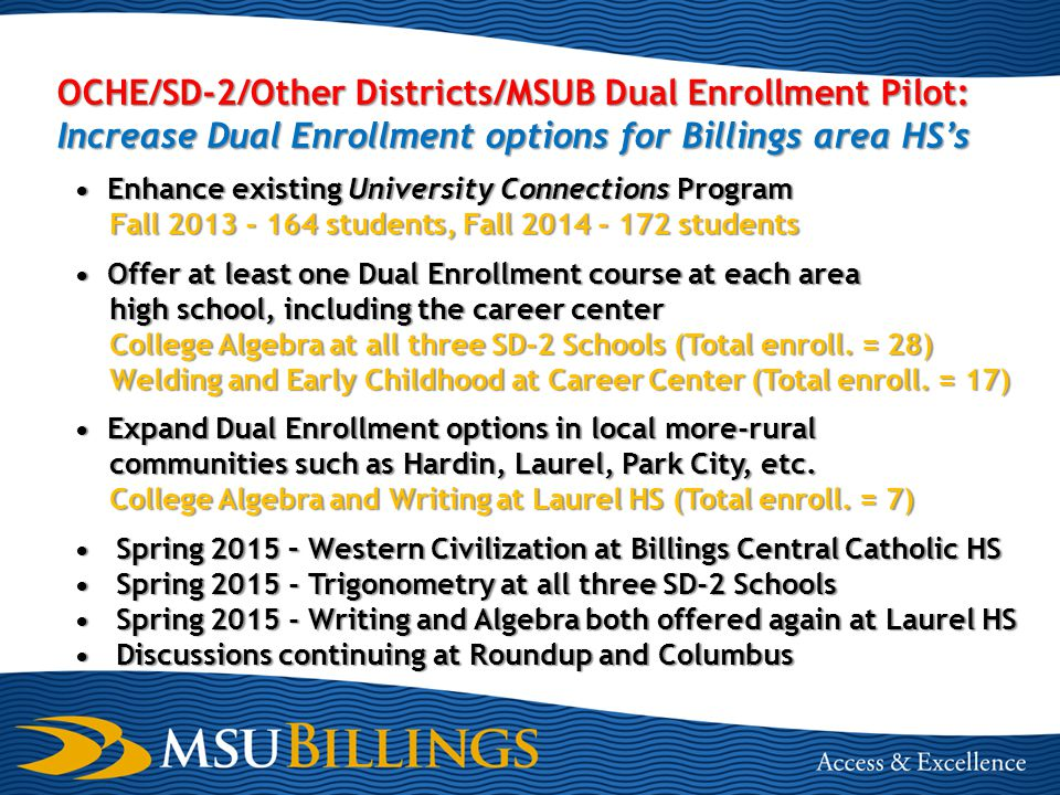 OCHE/SD-2/Other Districts/MSUB Dual Enrollment Pilot: Increase Dual Enrollment options for Billings area HS's Enhance existing University Connections Program Fall 2013 - 164 students, Fall 2014 - 172 students Offer at least one Dual Enrollment course at each area high school, including the career center College Algebra at all three SD-2 Schools (Total enroll.