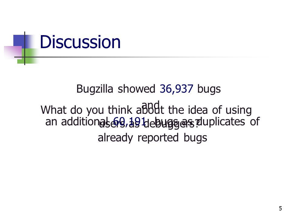 5 Discussion What do you think about the idea of using users as debuggers.