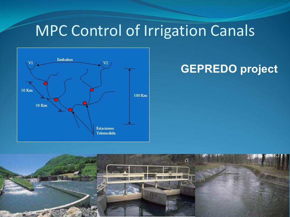 MPC Control of Irrigation Canals GEPREDO project Estaciones Telemedida 30 Km 100 Km V2V1 Embalses