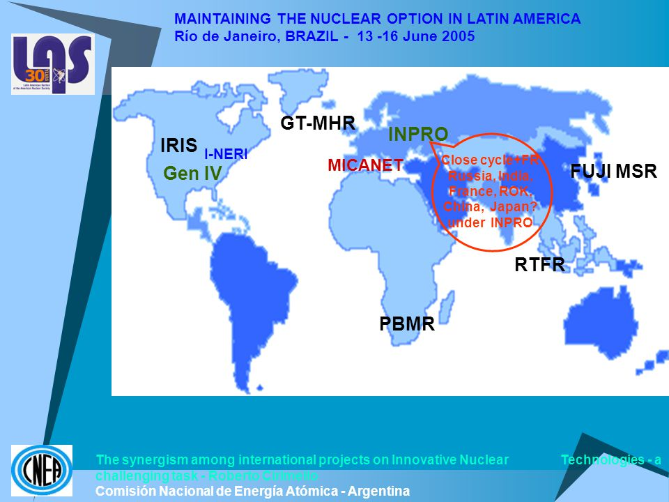 MAINTAINING THE NUCLEAR OPTION IN LATIN AMERICA Río de Janeiro, BRAZIL - 13 -16 June 2005 Gen IV INPRO MICANET GT-MHR I-NERI PBMR IRIS The synergism among international projects on Innovative Nuclear Technologies - a challenging task - Roberto Cirimello Comisión Nacional de Energía Atómica - Argentina Close cycle+FR Russia, India, France, ROK, China, Japan.