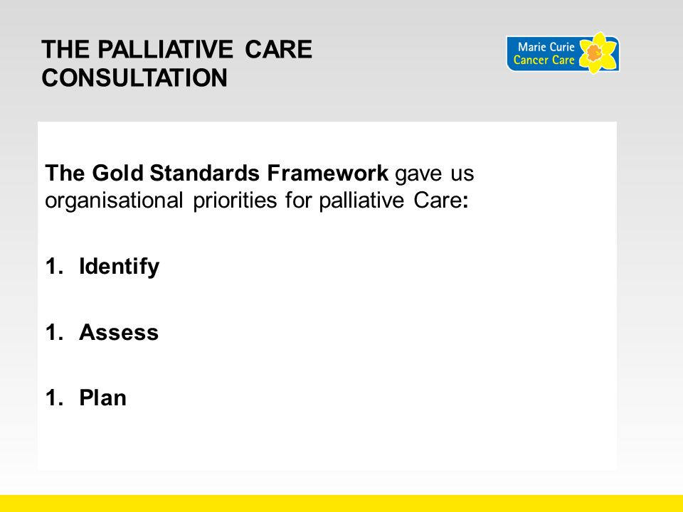 THE PALLIATIVE CARE CONSULTATION The Gold Standards Framework gave us organisational priorities for palliative Care: 1.Identify 1.Assess 1.Plan