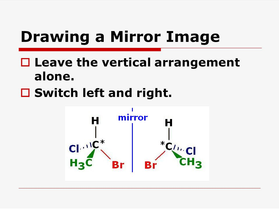 Drawing a Mirror Image  Leave the vertical arrangement alone.  Switch left and right.