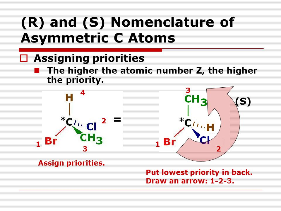 (R) and (S) Nomenclature of Asymmetric C Atoms  Assigning priorities The higher the atomic number Z, the higher the priority. Assign priorities. 2 1
