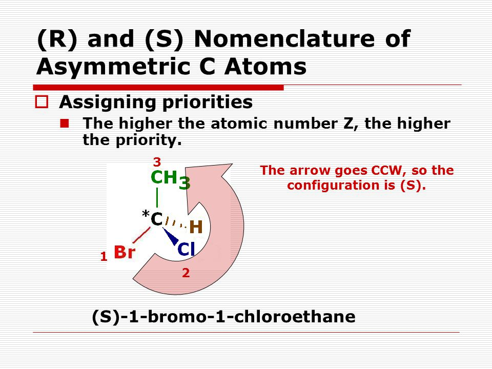 (R) and (S) Nomenclature of Asymmetric C Atoms  Assigning priorities The higher the atomic number Z, the higher the priority. 1 2 3 (S)-1-bromo-1-chl