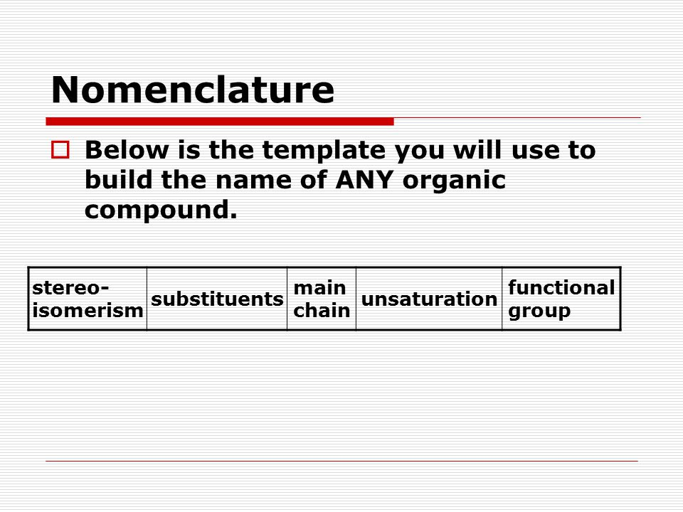 Nomenclature  Below is the template you will use to build the name of ANY organic compound. stereo- isomerism substituents main chain unsaturation fu