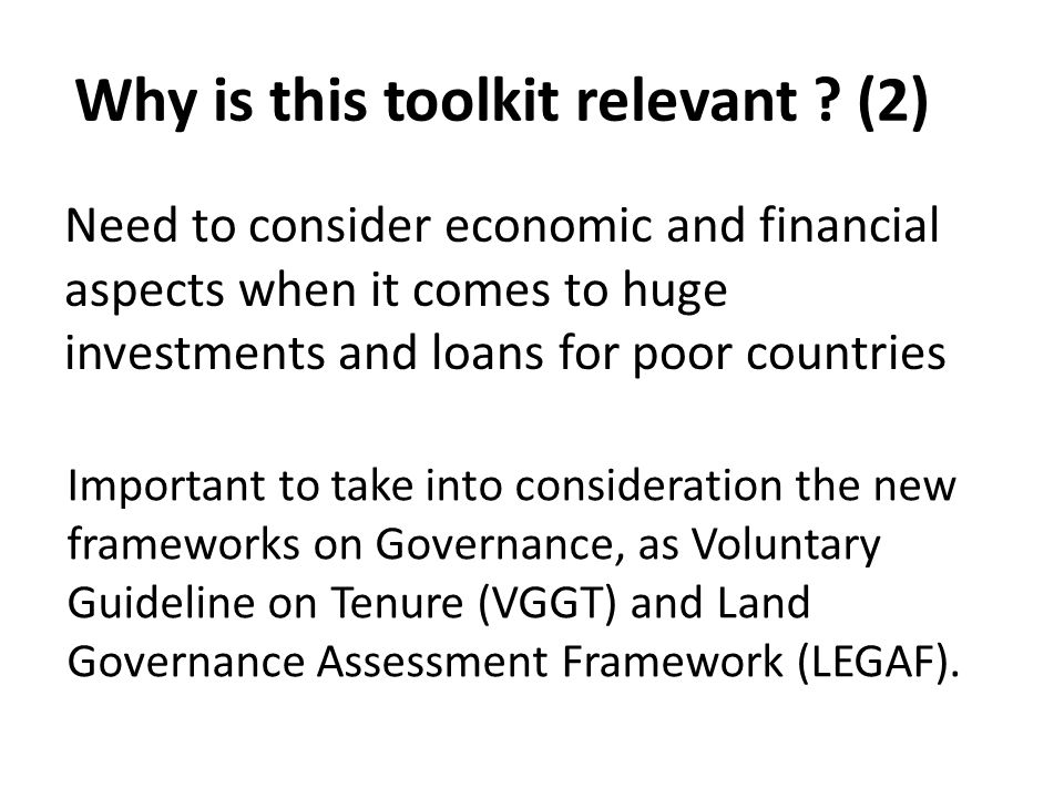 Contents of the Toolkit 3 sections, according to the different areas of impacts: Institutional, Territorial Entities, Households with improved tenure security.