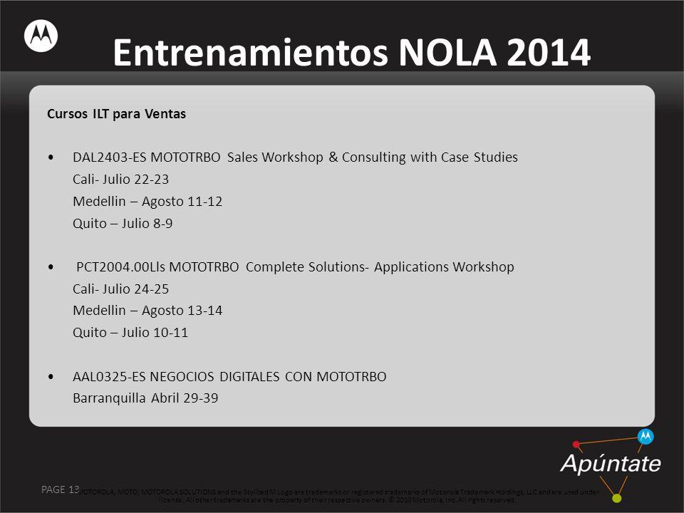 PAGE 13 Entrenamientos NOLA 2014 Cursos ILT para Ventas DAL2403-ES MOTOTRBO Sales Workshop & Consulting with Case Studies Cali- Julio 22-23 Medellin –