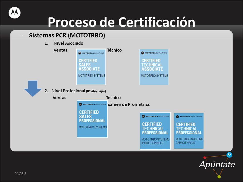 PAGE 3 Proceso de Certificación – Sistemas PCR (MOTOTRBO) 1.Nivel Asociado Ventas Técnico 2. Nivel Profesional (IP Site/Cap+) Ventas Técnico Exámen de
