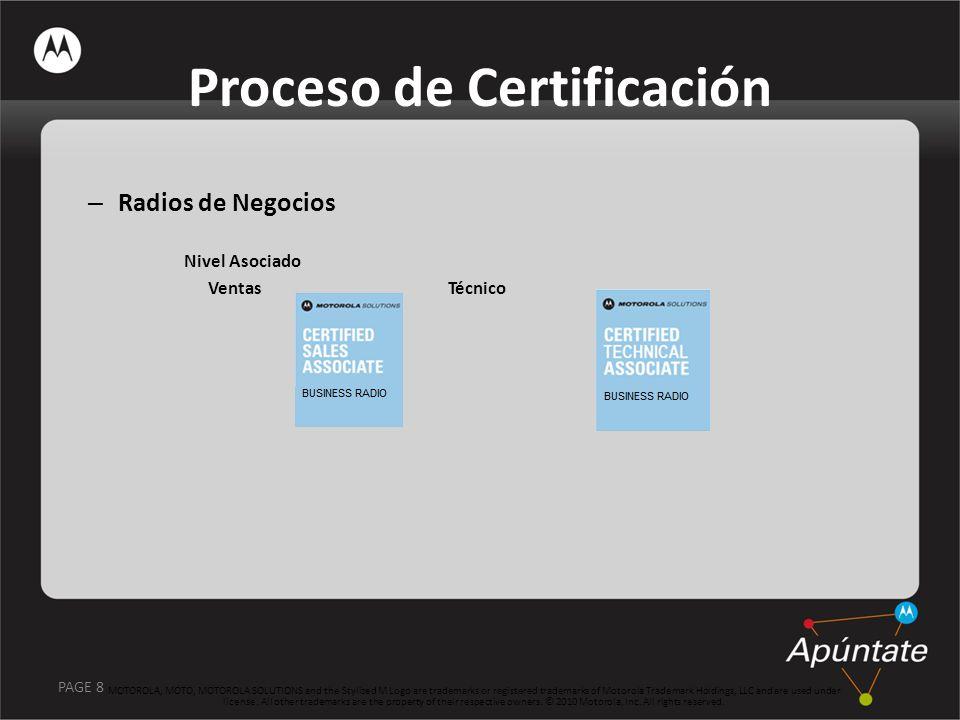 PAGE 8 – Radios de Negocios Nivel Asociado Ventas Técnico MOTOROLA, MOTO, MOTOROLA SOLUTIONS and the Stylized M Logo are trademarks or registered trad