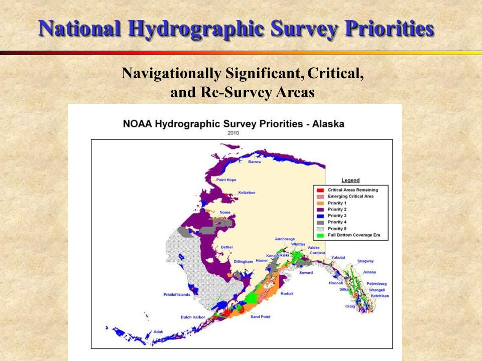 National Hydrographic Survey Priorities Navigationally Significant, Critical, and Re-Survey Areas