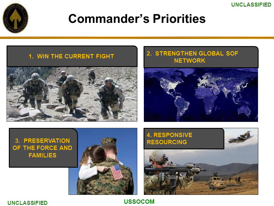USSOCOM UNCLASSIFIED Commander's Priorities 1. WIN THE CURRENT FIGHT 2.