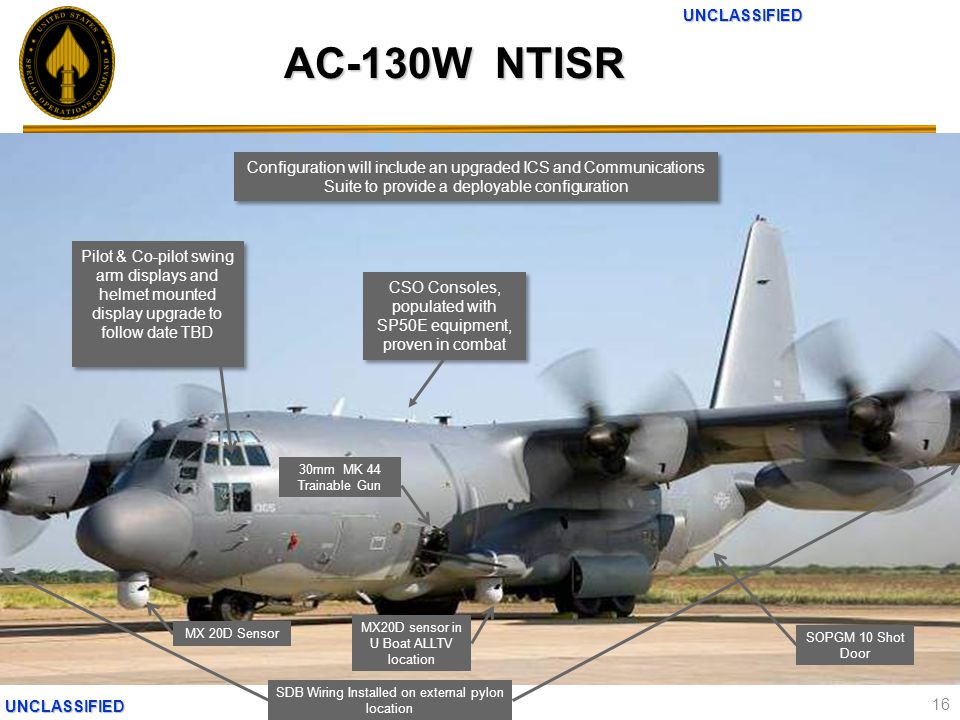 UNCLASSIFIEDUNCLASSIFIED AC-130W NTISR 16 MX 20D Sensor MX20D sensor in U Boat ALLTV location 30mm MK 44 Trainable Gun SOPGM 10 Shot Door SDB Wiring Installed on external pylon location CSO Consoles, populated with SP50E equipment, proven in combat Pilot & Co-pilot swing arm displays and helmet mounted display upgrade to follow date TBD Configuration will include an upgraded ICS and Communications Suite to provide a deployable configuration