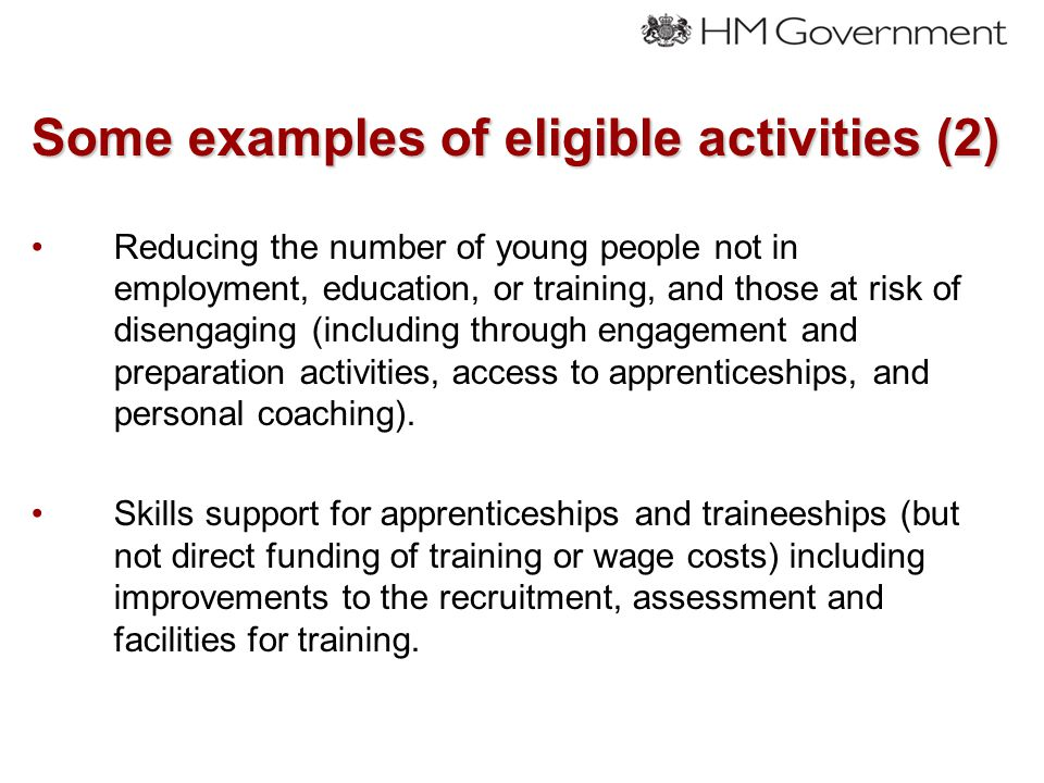 Some examples of eligible activities (2) Reducing the number of young people not in employment, education, or training, and those at risk of disengaging (including through engagement and preparation activities, access to apprenticeships, and personal coaching).