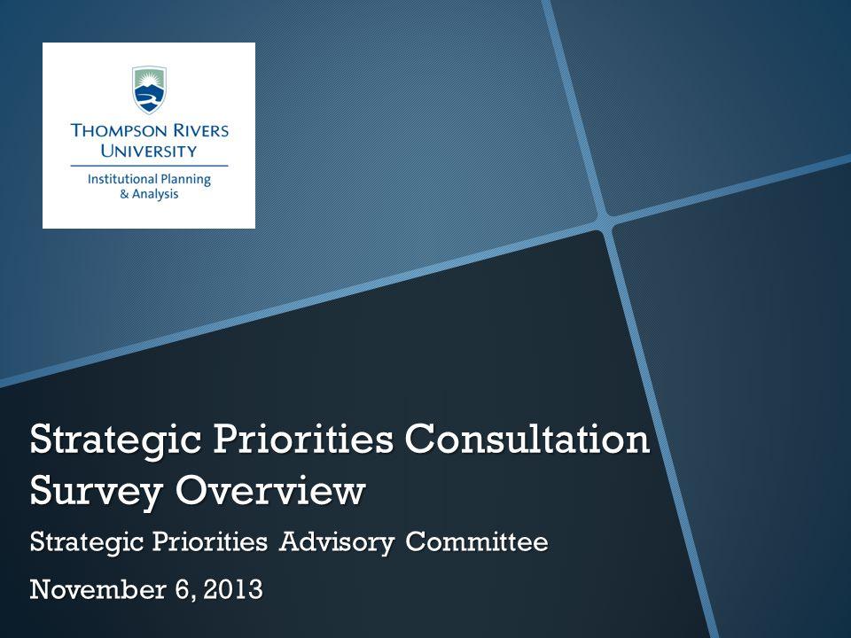 Strategic Priorities Consultation Survey Overview Strategic Priorities Advisory Committee November 6, 2013