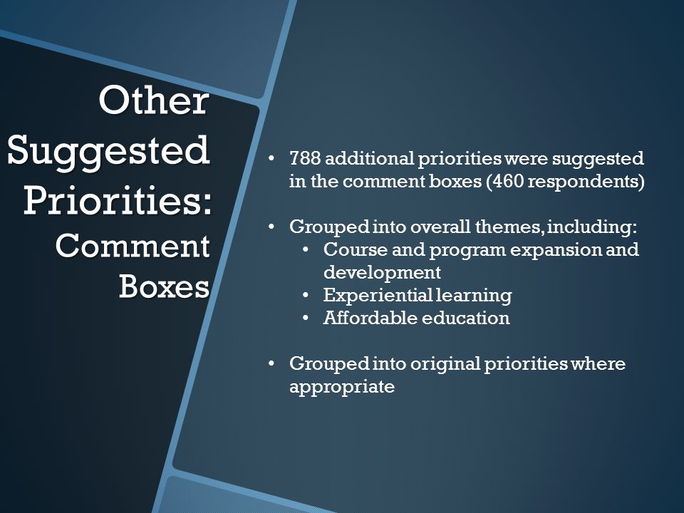 Other Suggested Priorities: Comment Boxes 788 additional priorities were suggested in the comment boxes (460 respondents) Grouped into overall themes,
