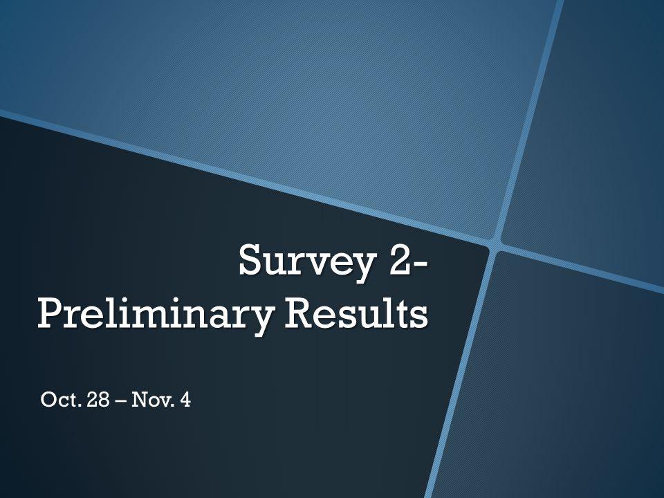 Survey 2- Preliminary Results Oct. 28 – Nov. 4