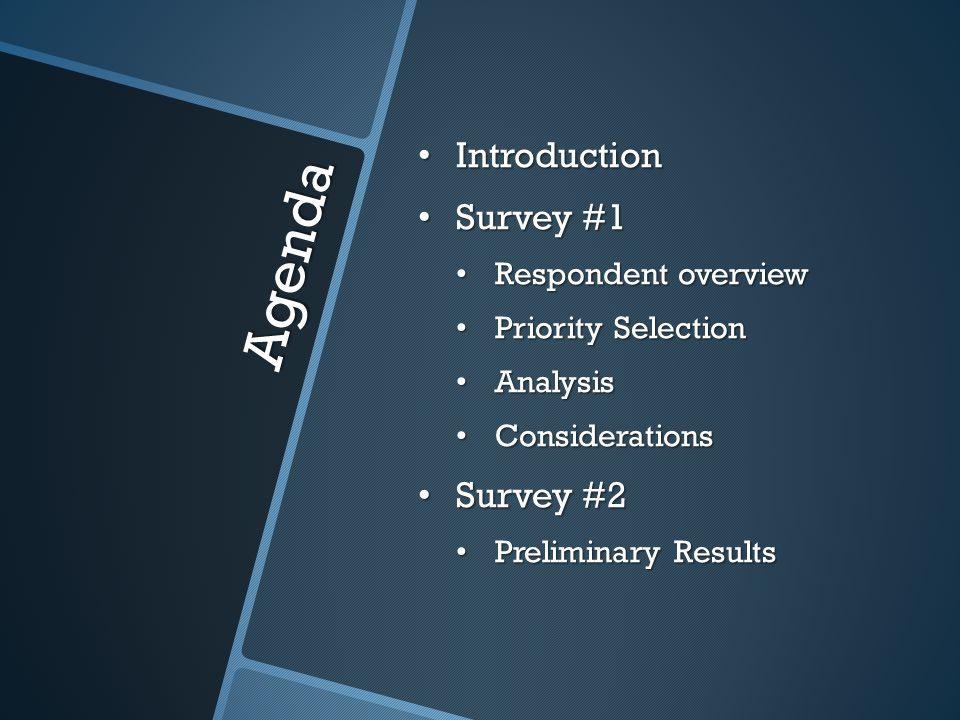 Agenda Introduction Introduction Survey #1 Survey #1 Respondent overview Respondent overview Priority Selection Priority Selection Analysis Analysis Considerations Considerations Survey #2 Survey #2 Preliminary Results Preliminary Results