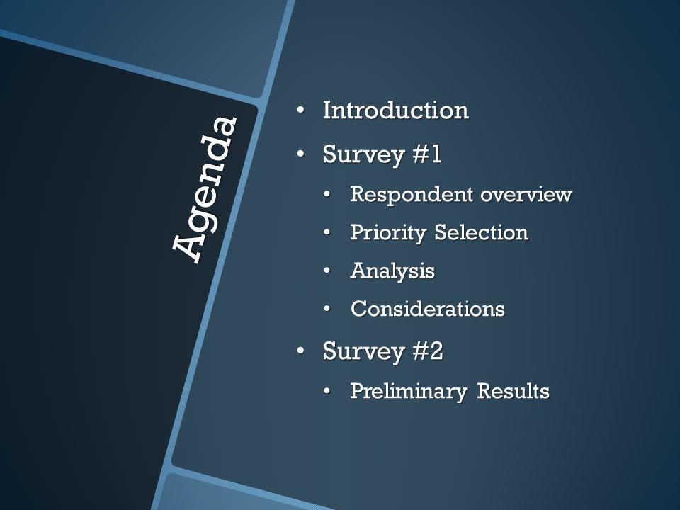 Agenda Introduction Introduction Survey #1 Survey #1 Respondent overview Respondent overview Priority Selection Priority Selection Analysis Analysis C