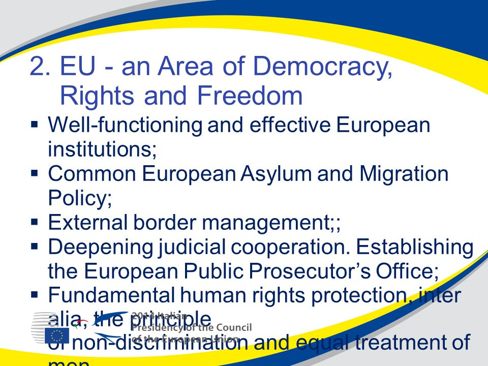 2. EU - an Area of Democracy, Rights and Freedom  Well-functioning and effective European institutions;  Common European Asylum and Migration Policy