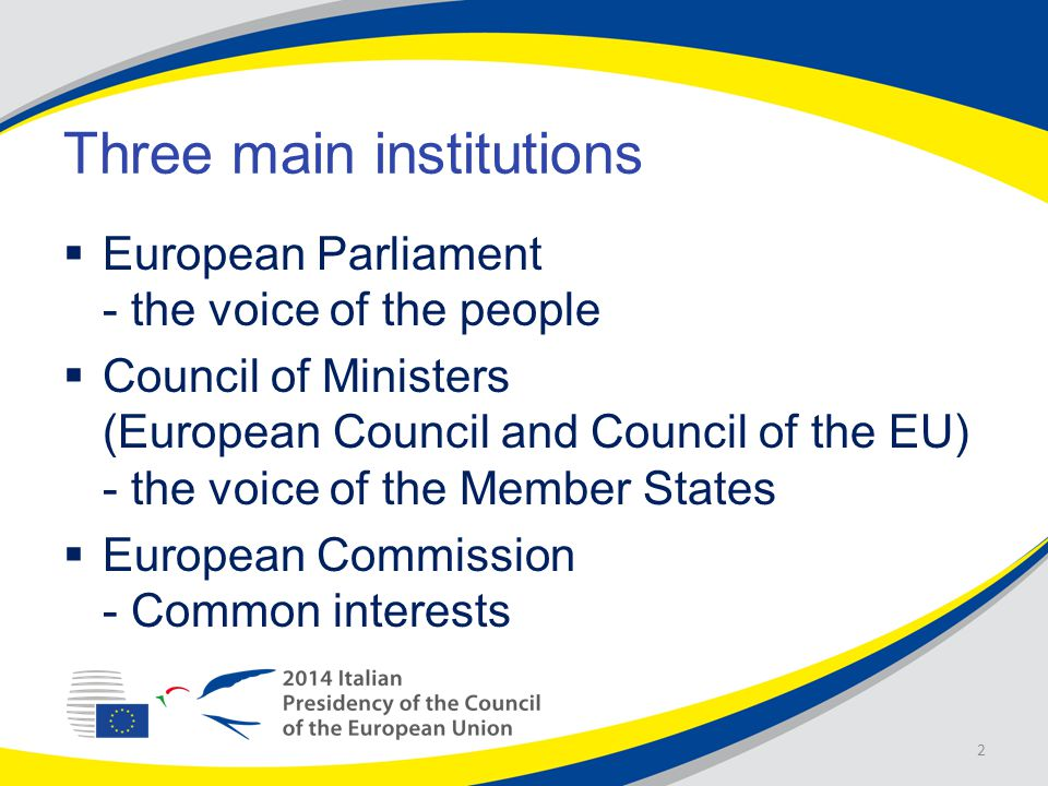 Three main institutions  European Parliament - the voice of the people  Council of Ministers (European Council and Council of the EU) - the voice of the Member States  European Commission - Common interests 2