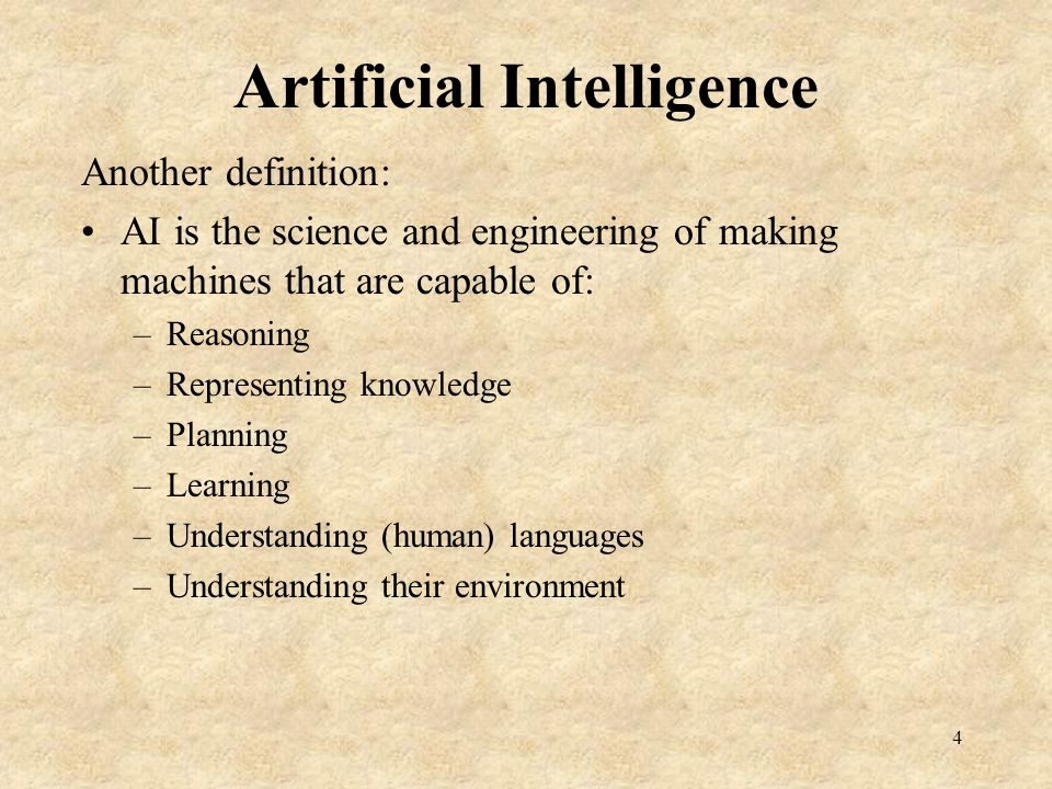 Old Times The pursuit of General AI Objective: Build a machine that exhibits ALL of the AI features 5