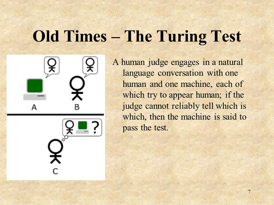 Old Times – The Turing Test Problems with the Turing test: Human intelligence vs.