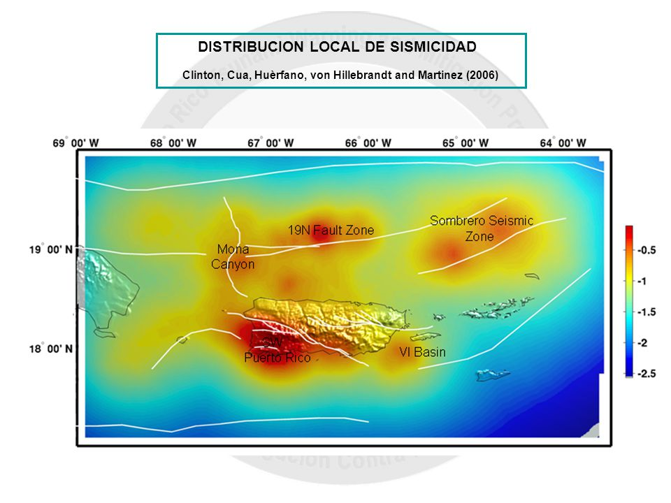DISTRIBUCION LOCAL DE SISMICIDAD Clinton, Cua, Huèrfano, von Hillebrandt and Martinez (2006)