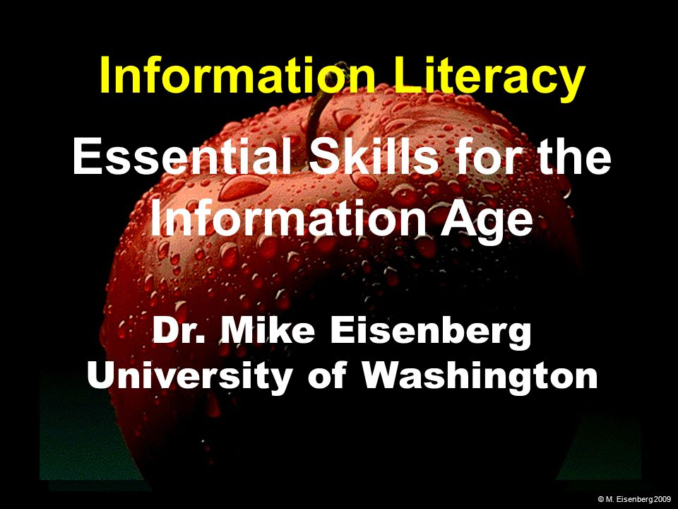 © M. Eisenberg 2009 Information Literacy Essential Skills for the Information Age Dr.