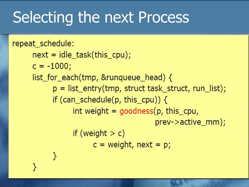 Selecting the next Process
