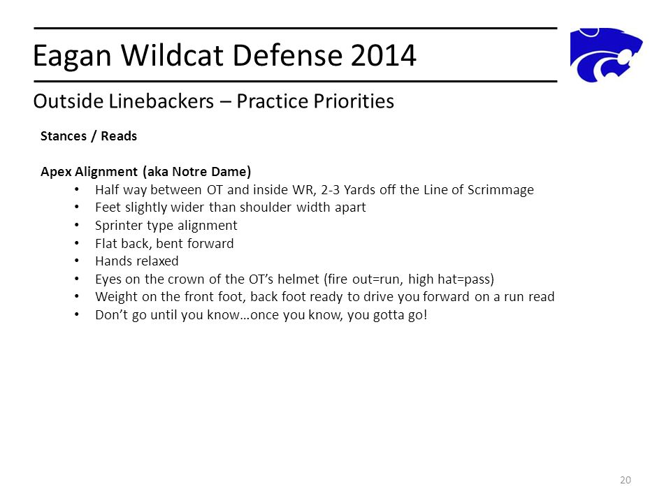 Eagan Wildcat Defense 2014 20 Outside Linebackers – Practice Priorities Stances / Reads Apex Alignment (aka Notre Dame) Half way between OT and inside
