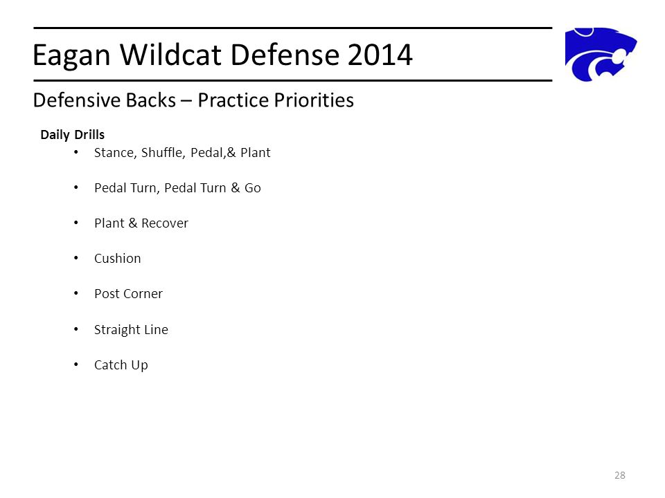 Eagan Wildcat Defense 2014 28 Daily Drills Stance, Shuffle, Pedal,& Plant Pedal Turn, Pedal Turn & Go Plant & Recover Cushion Post Corner Straight Lin
