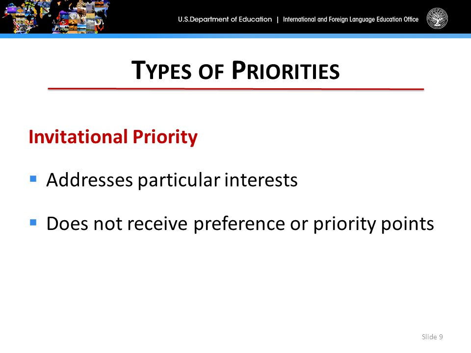 T YPES OF P RIORITIES Invitational Priority  Addresses particular interests  Does not receive preference or priority points Slide 9