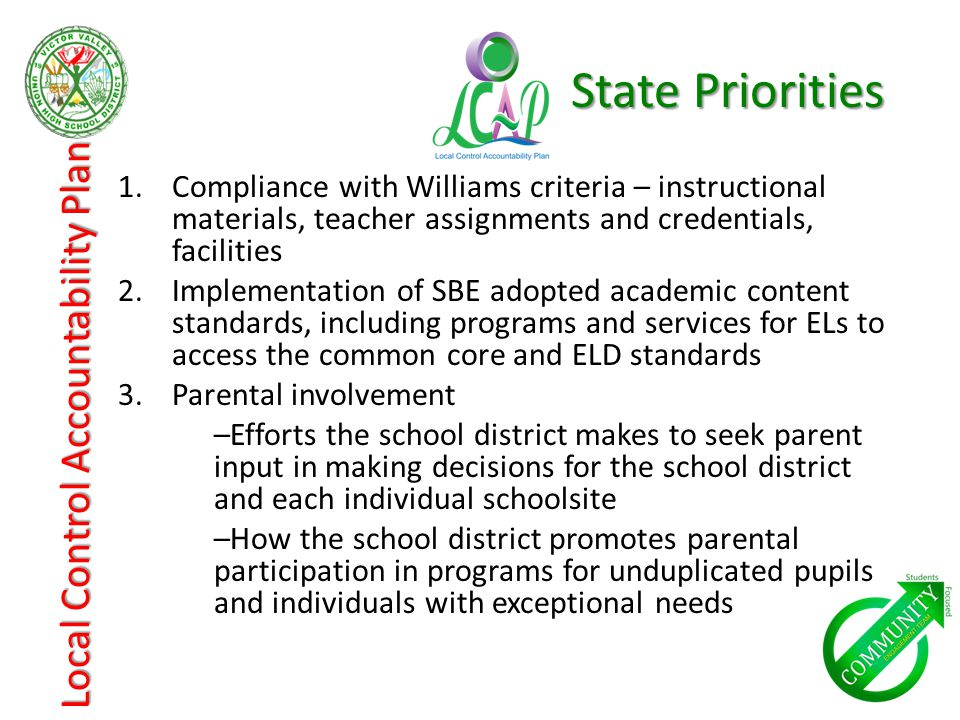 1.Compliance with Williams criteria – instructional materials, teacher assignments and credentials, facilities 2.Implementation of SBE adopted academic content standards, including programs and services for ELs to access the common core and ELD standards 3.Parental involvement –Efforts the school district makes to seek parent input in making decisions for the school district and each individual schoolsite –How the school district promotes parental participation in programs for unduplicated pupils and individuals with exceptional needs Local Control Accountability Plan State Priorities