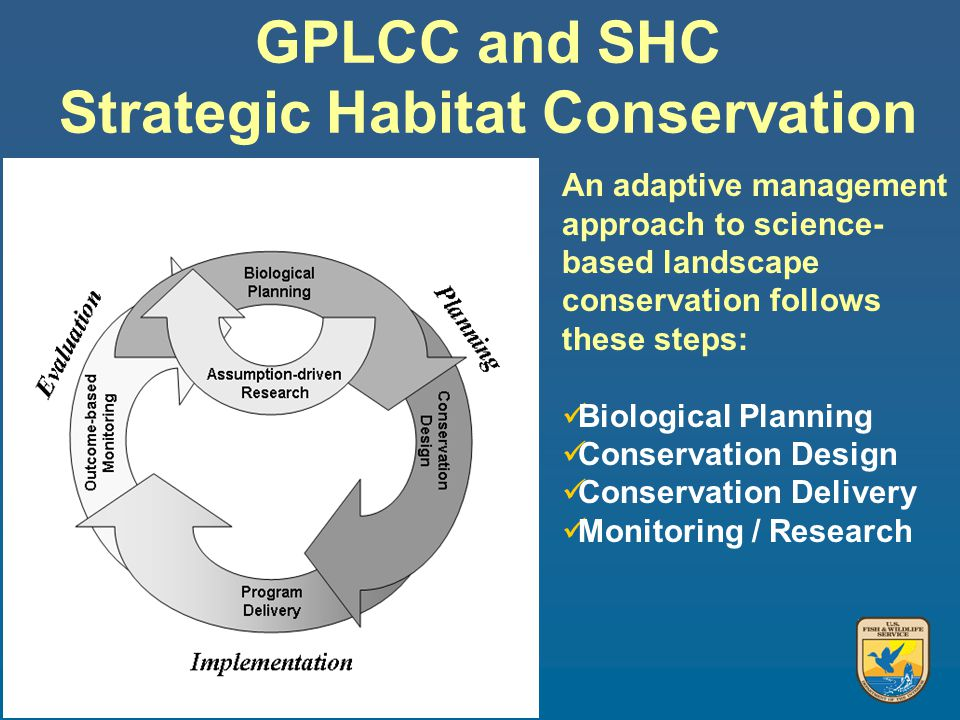 An adaptive management approach to science- based landscape conservation follows these steps: Biological Planning Conservation Design Conservation Delivery Monitoring / Research GPLCC and SHC Strategic Habitat Conservation