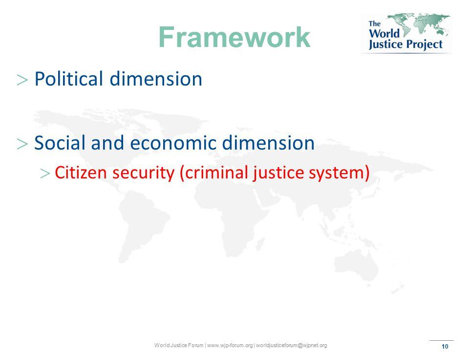10 World Justice Forum | www.wjp-forum.org | worldjusticeforum@wjpnet.org Framework  Political dimension  Social and economic dimension  Citizen security (criminal justice system)