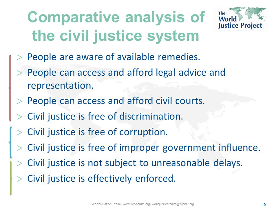 19 World Justice Forum | www.wjp-forum.org | worldjusticeforum@wjpnet.org Comparative analysis of the civil justice system  People are aware of available remedies.