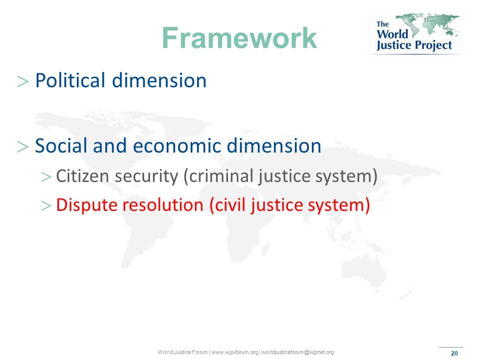 20 World Justice Forum | www.wjp-forum.org | worldjusticeforum@wjpnet.org Framework  Political dimension  Social and economic dimension  Citizen security (criminal justice system)  Dispute resolution (civil justice system)