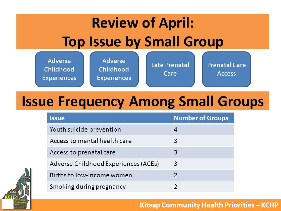 Review of April: Top Issue by Small Group Kitsap Community Health Priorities – KCHP Adverse Childhood Experiences Late Prenatal Care Prenatal Care Access IssueNumber of Groups Youth suicide prevention4 Access to mental health care3 Access to prenatal care3 Adverse Childhood Experiences (ACEs)3 Births to low-income women2 Smoking during pregnancy2 Issue Frequency Among Small Groups