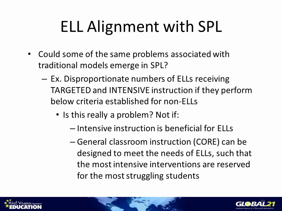 ELL Alignment with SPL Could some of the same problems associated with traditional models emerge in SPL.