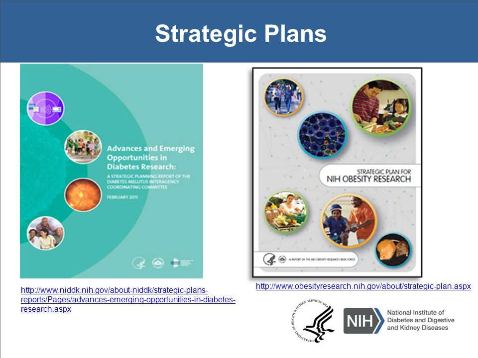Strategic Plans http://www.obesityresearch.nih.gov/about/strategic-plan.aspx http://www.niddk.nih.gov/about-niddk/strategic-plans- reports/Pages/advances-emerging-opportunities-in-diabetes- research.aspx