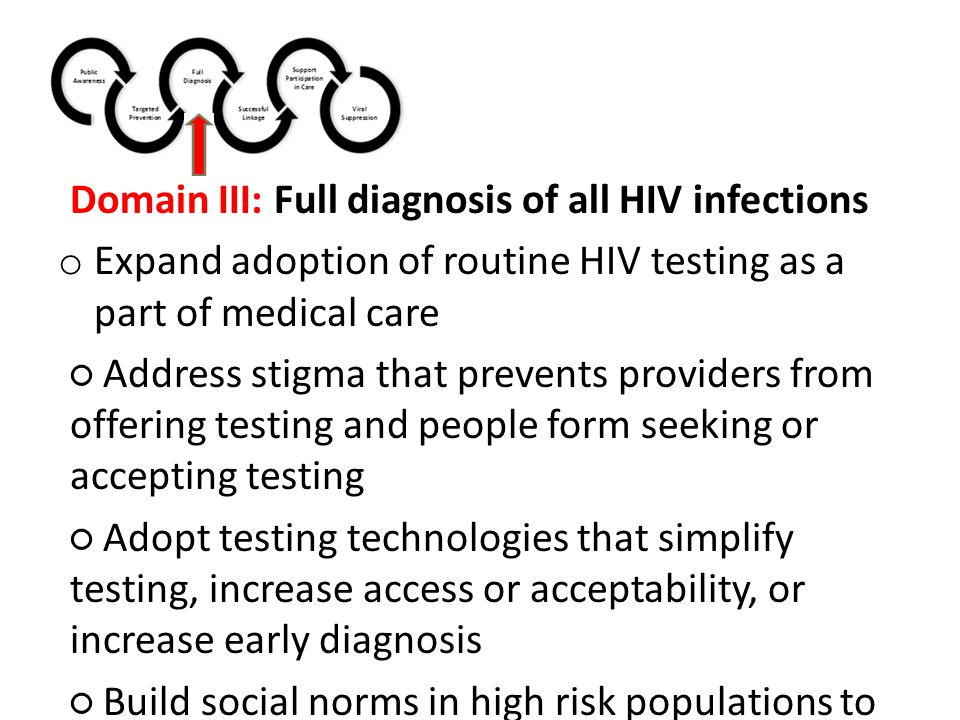 Domain III: Full diagnosis of all HIV infections o Expand adoption of routine HIV testing as a part of medical care ○ Address stigma that prevents providers from offering testing and people form seeking or accepting testing ○ Adopt testing technologies that simplify testing, increase access or acceptability, or increase early diagnosis ○ Build social norms in high risk populations to seek health care