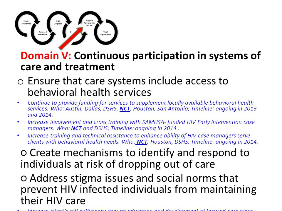 Domain V: Continuous participation in systems of care and treatment o Ensure that care systems include access to behavioral health services Continue to provide funding for services to supplement locally available behavioral health services.