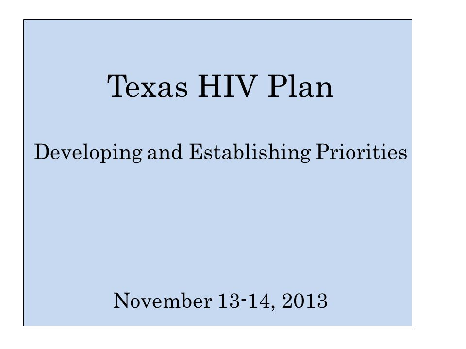 Texas HIV Plan Developing and Establishing Priorities November 13-14, 2013